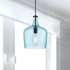 Blue Pendant Light, Blown Glass Pendant Light, Mini Pendant, Pendant Lights, Globe Pendant, Pendant Lamp, Coastal Lighting, Home Lighting, Kitchen Pendants