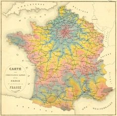 """""""I think I'm in love: a stunning isochrone map of travel times from Paris by rail in 1882 (making this a very early example of the genre)."""""""