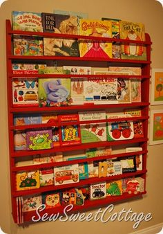 DIY PB knockoff wall bookshelf - my kids HAVE to have this! They are book worms and have books all over the place!