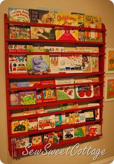 Magazine-style kids' bookshelf via Sew Sweet Cottage