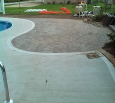 Paver patio by the pool - perfect for lounging or grilling Grilling, Sidewalk, Landscape, Projects, Courtyards, Log Projects, Scenery, Blue Prints, Crickets