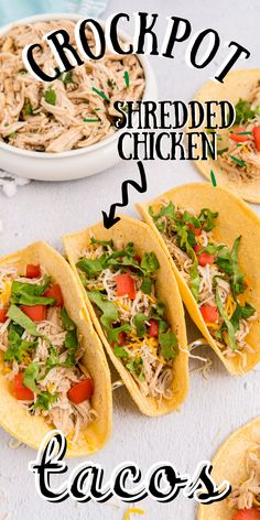 These Crockpot Shredded Chicken Tacos are my go-to weeknight dinner. They're juicy, flavorful, and SO easy to make. For more easy dinner ideas follow Food Folks and Fun! Crockpot Shredded Chicken Tacos, Slow Cooker Chicken, Easy Chicken Recipes, Crockpot Recipes, Easy Recipes, Appetizer Recipes, Dinner Recipes, Main Dishes, Side Dishes
