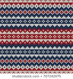 Christmas Seamless Knitted Pattern In Fair Isle Style Stock Vector - Image: 44331918 Fair Isle Knitting Patterns, Knitting Machine Patterns, Knitting Charts, Knitting Stitches, Free Knitting, Sock Knitting, Vintage Knitting, Motif Fair Isle, Fair Isle Chart