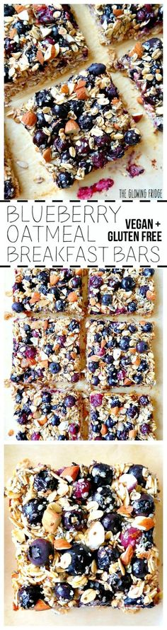 VEGAN & GF. 'Blueberry Oatmeal Breakfast Bars' that are wholesome, super clean, nutritionally balanced, naturally sweetened and have the added superfood goodness of chia seeds and hemp seeds. Eat one square alongside a smoothie for breakfast or as a yummy post-workout snack. From The Glowing Fridge.