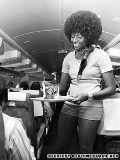 southwest flight attendants sexy uniform (via Gallery: Sexy flight attendant uniforms of the past Afro, My Black Is Beautiful, Pretty Black, Beautiful Women, Flight Attendant, Airline Attendant, Before Us, Hot Pants, Black History
