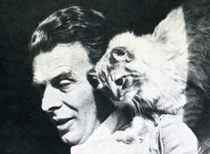 """Aldous Huxley, autor de """"Brave New World"""" (""""Un Mundo Feliz""""), con su gato. Huxley, irónico, escribió: """"""""No man ever dared to manifest his boredom so insolently as does a Siamese tomcat when he yawns in the face of his amorously importunate wife"""". Aldous Huxley, Gatos Cats, Feral Cats, Small Cat, Cat Photography, Cat People, Vintage Cat, Domestic Cat, Big Cats"""