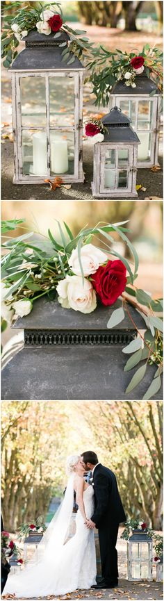 Romantic wedding ceremony decor, shabby chic lanterns, red florals, learn more on borrowedandblue.com // Naomi Wong Photography