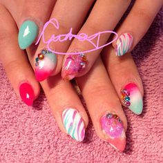 Summer neon punch nails