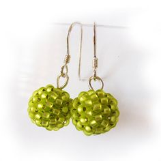 Berry Beaded Dangle Earrings with Lime green by dicopebisuteria, $17.00