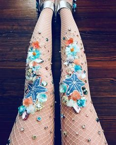 Floral mermaid themed fishnets. Perfect for the spring and summer. Wear under jumpsuits, bathing suits and more!  •Hand-wash and lay flat to dry