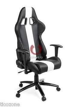 CPA5001 Black & White Stripes Leatherette Cipher Auto Office Racing Seat