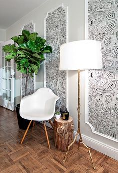 """Contemporary Entryway with West Elm Natural Tree Stump Side Table, Hardwood floors, Mural, Forest Park Iron 61"""" Floor Lamp"""
