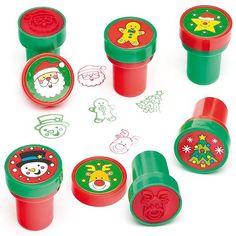 Tampons de Noël avec encre intégrée que les enfants pourront utiliser pour décorer les cartes et les loisirs créatifs (Lot de 10)