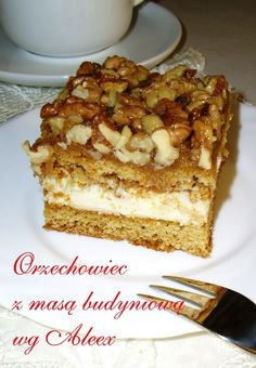 Pecan pie with cream pudingovym. Polish Recipes, Polish Food, Cake Bars, Baking And Pastry, Christmas Appetizers, Let Them Eat Cake, French Toast, Food And Drink, Sweets