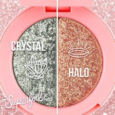 """Lime Crime - """"Crystal"""" (icy silver) + """"Halo"""" (champagne gold) Feeling innocent? We got two ethereal """"Superfoils"""" shades for you that will make you feel like a sparkling cloud."""