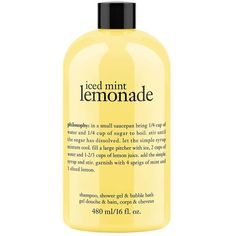 Women's Philosophy Iced Mint Lemonade Shower Gel 16oz ($18) ❤ liked on Polyvore featuring beauty products, bath & body products, body cleansers, fillers, beauty, makeup, yellow, accessories, no color and bubble bath