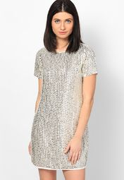 294f0a4b527 Buy DOROTHY PERKINS Silver Colored Solid Shift Dress Online - 3267979 -  Jabong