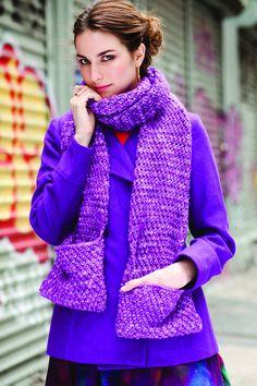 baxter. textured pocket scarf by Annabelle Speer. malabrigo Mecha, Borrajas colorway.