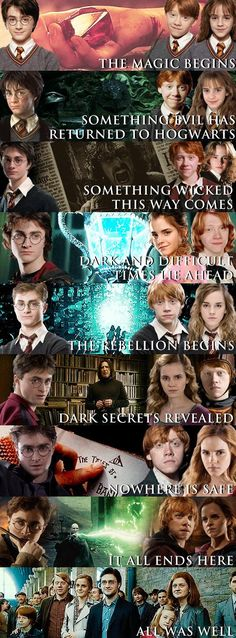 """Harry Potter series. I'm gonna cry!!! I still remember the way I felt when I read the last line in the series *Spolier* """"The scar had not pained Harry for nineteen years. All was well."""" I still get tingly..."""