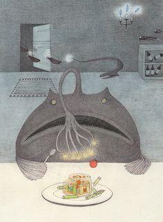 移動式レストラン(チョウチンアンコウ) Deep Sea Creatures, Nautical, Kids Rugs, Birds, Fish, Seas, Drawings, Creative, Illustration