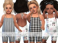 -Summer Romper For Toddler with 11 designs. Found in TSR Category 'Sims 4 Toddler Female' Sims 4 Toddler Clothes, Sims 4 Cc Kids Clothing, Sims 4 Mods Clothes, Toddler Outfits, Kids Outfits, Children Clothing, The Sims 4 Bebes, Sims 4 Cas Mods, Pelo Sims