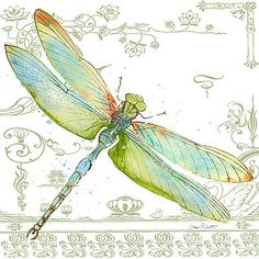Dragonfly Bliss-JP3445 by Jean Plout