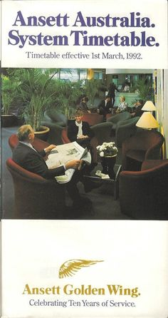 Ansett Airlines of Australia system timetable Natural Wonders, Aviation, Australia, Aircraft