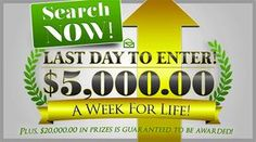 PCH Win $5,000 a Week for Life Giveaway #13000. August 30th on NBC Television You could become PCH Next Sweepstakes Millionaire. No Purchase necessary to enter. You have nothing to buy to enter this promotion.The Direct-Marketing Company with Mega Millionscash payoutto its credit offers you the chance to win with their latest PCH Marketing Sweepstakes – Don't forget that as mentioned on Publishers Clearing Sweepstakes Rules Page that the happy winner may choose to opt for a Lump Sum Lotto Winners, Lottery Winner, Instant Win Sweepstakes, Online Sweepstakes, Pch Dream Home, Lotto Lottery, Lotto Winning Numbers, Fiction Writing Prompts, Win For Life