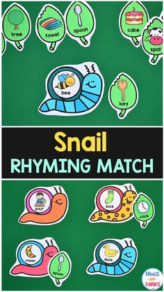 This cute rhyming activity will be a playful way to help your kids practice matching rhyming words! Your kids will feed the snails by identifying and matching fun snails and leaves! Play Based Learning, Learning Through Play, Learning Resources, Play To Learn, Learn To Read, Rhyming Activities, Beginning Reading, Rhyming Words, Little Learners