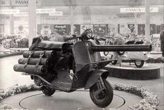 """""""The Vespa 150 TAP is a Vespa scooter modified for use with paratroops. Introduced in 1956 & updated in it had a U.-made light anti-armour cannon. Roughly 800 of these scooters were deployed in the Algerian War. Vespa 150, Scooters Vespa, Vespa Lambretta, Motor Scooters, Piaggio Vespa, Mobility Scooters, Weekender, Panzer, War Machine"""