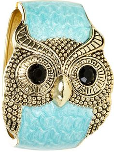 Turquoise Marble Owl Cuff