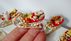 Miniature Christmas tray sledge shape with cookies by Evamini, $20.00