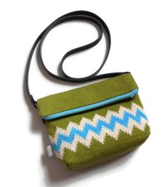Small Knitted Satchel - Lime and Turquoise, Folksy