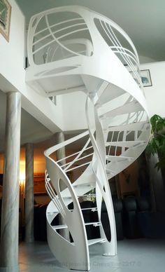 Création jean-luc Chevallier pour La Stylique Mezzanine Design, Art Nouveau, Spiral Staircase, Staircase Ideas, Escalier Design, Bunk Beds, Stairs, Loft, Henri