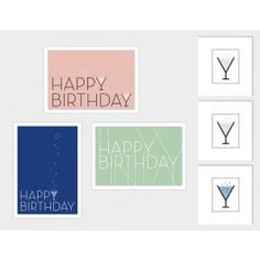 """Drei Glückwunschkarten mit """"Happy Birthday"""" Schriftzug. DIN A6/148 x 105 mm #postcards #happybirthday #herzlichenglückwunsch #geburtstagskarten"""