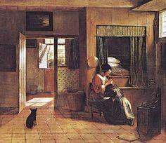 """""""Maternal Duty"""" by Pieter de Hooch (Dutch, 1629 - 1684)"""