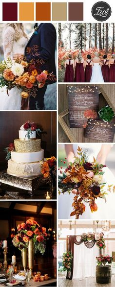 burgundy, marsala and burnt orange fall wedding color combos