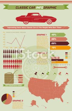 Retro Car Infographic With Charts And Automotive Elements Royalty Free Stock Vector Art Illustration