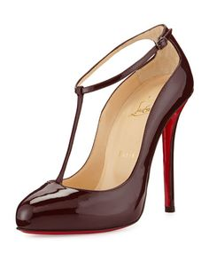 christian louboutin ditassima patent t strap red sole pump burgundy
