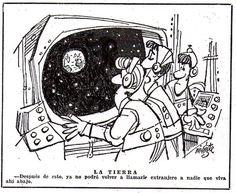 Esta es la histórica viñeta de Mingote cuando el hombre viajó a la luna en 1969 en el Apolo XI.