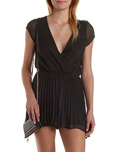41e6c27a735 Caged Back Pleated Chiffon Romper  Charlotte Russe