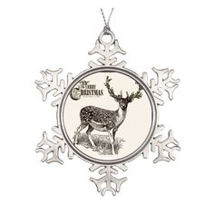Christmas Deer Pewter Snowflake Ornament Silver Pewter Snowflake... (3.075 HUF) ❤ liked on Polyvore featuring home, home decor, holiday decorations, deer christmas ornaments, silver snowflake ornaments, keepsake ornaments, round ornaments and personalized ornaments