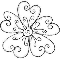 Outline Rubber Stamps Swirly Flower Large