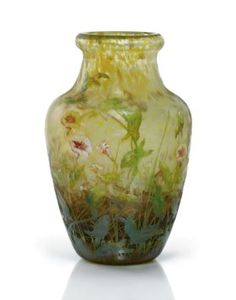DAUM - An Acid-Etched, Enameled and Mottled Glass Vase, circa 1905 11¼ in. (28.5 cm.) high signed in enamel DAUM NANCY L.W. with Cross of Lorraine USD 12000 - Pinhas Collection