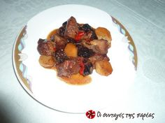 Pork with plums Recipe Images, Greek Recipes, Quick Meals, Good Food, Pork, Cooking Recipes, Beef, Chicken, Sign