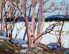 An Ice Covered Lake, 1917 - Tom Thomson Gallery, Owen Sound Emily Carr, Group Of Seven Art, Group Of Seven Paintings, Watercolor Landscape, Landscape Art, Landscape Paintings, Oil Paintings, Canadian Painters, Canadian Artists