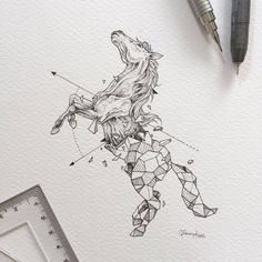 Geometric Beasts - Horse by Kerby Rosanes