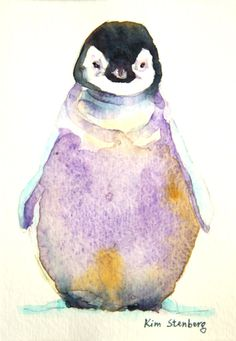 "Penguin Painting Original Watercolor ""Baby Emperor Penguin"" by KimStenbergFineArt, $80.00"