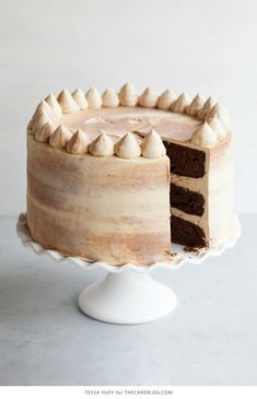 Chocolate Bourbon Marble Cake with pecan crunch. Bourbon Cake, Chocolate Bourbon, Decadent Chocolate Cake, Beautiful Chocolate Cake, Hazelnut Cake, Pecan Cake, Pecan Desserts, Delicious Desserts, Recipes