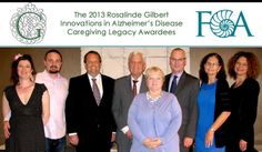 The 2013 winners of the Rosalinde Gilbert Innovations in Alzheimer's Disease Caregiving Legacy Awards. (Left to Right:) Anna Fitch and Banker White (WeOwnTV), Gary Glazner (New Mexico Literary Arts), Richard Ziman (Rosalinde and Arthur Gilbert Foundation), Kathleen Kelly (Family Caregiver Alliance), Mark Cornett and Kathleen Herd (Alzheimer's Community Care), and Liz Schwarte (Ad Lucem Consulting)